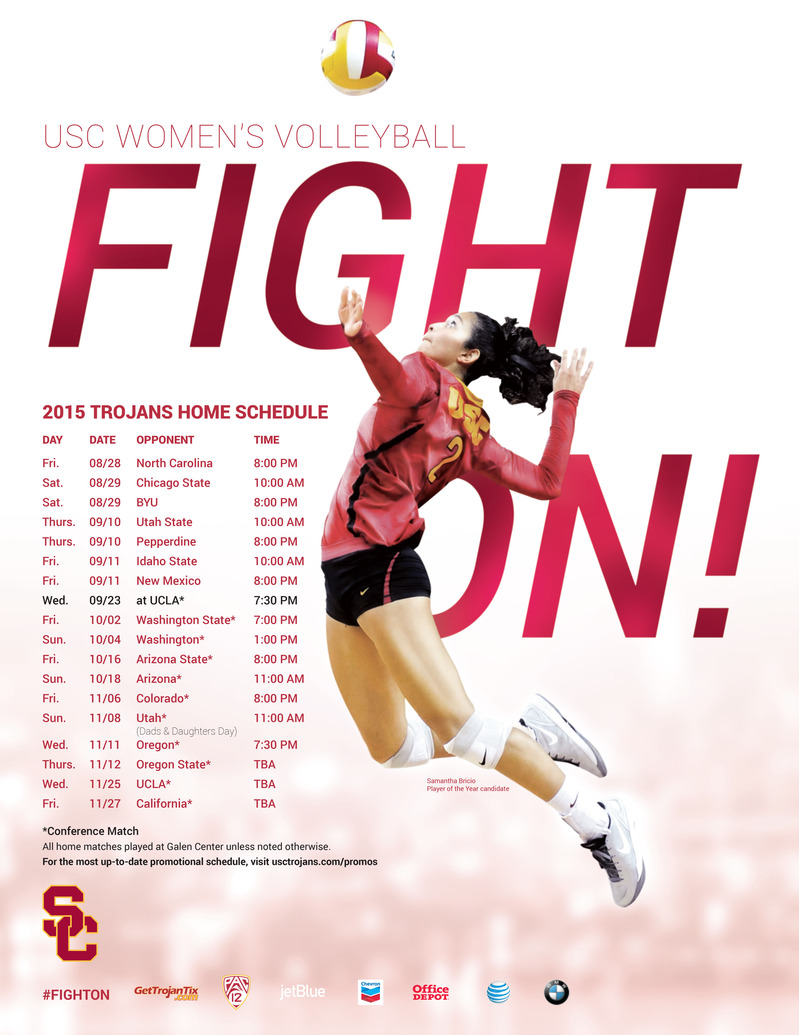 2015 Usc Women S Volleyball Poster Usc Athletics