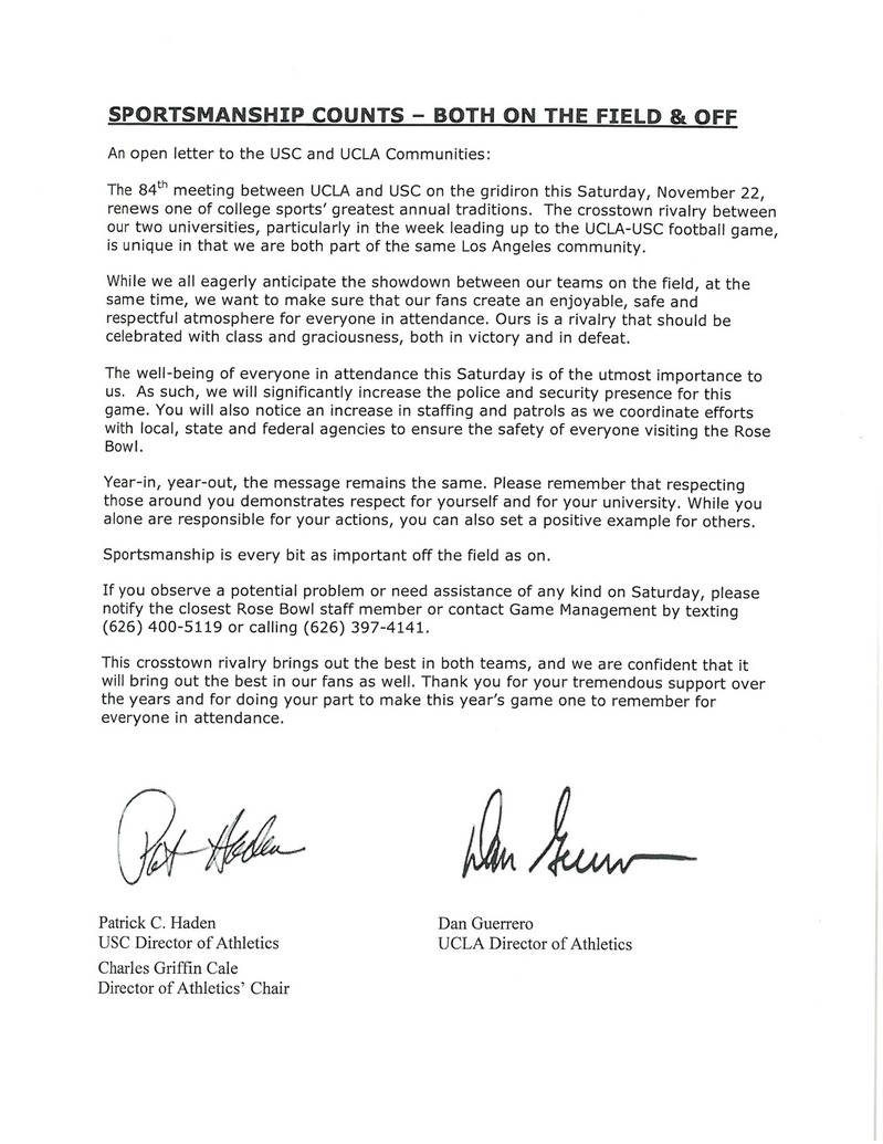 Open Letter from USC and UCLA ADs - USC Athletics