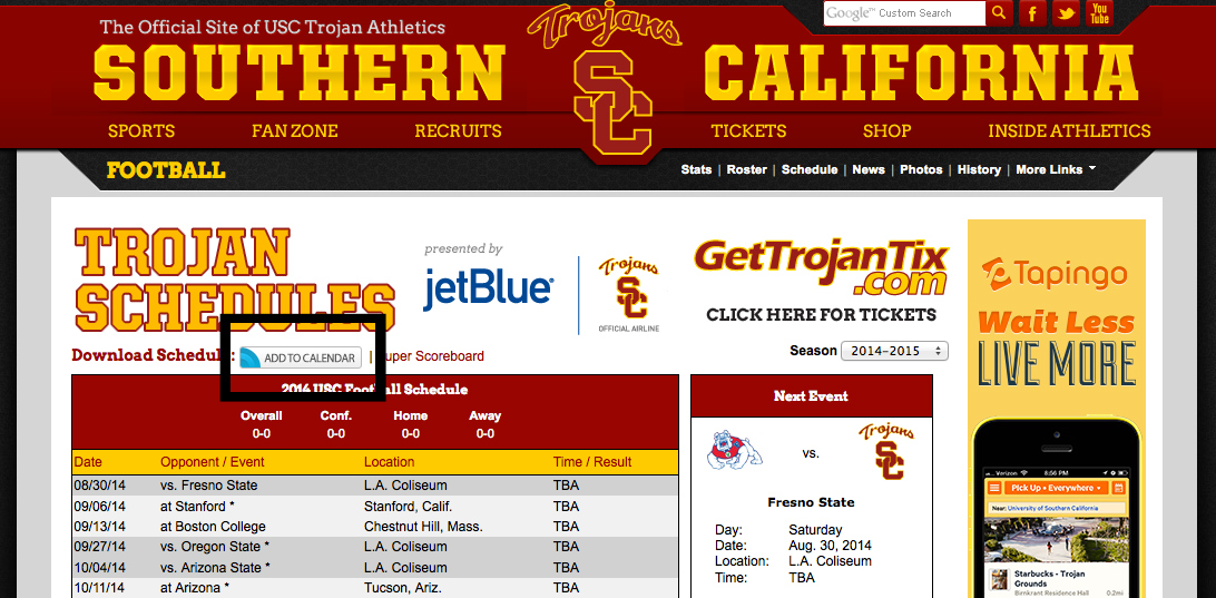 new downloadable calendars university of southern california