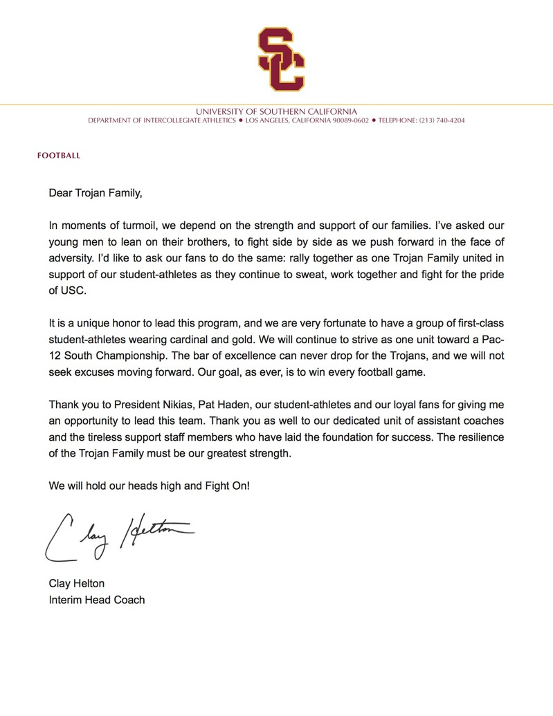 From Helton To You USC Athletics