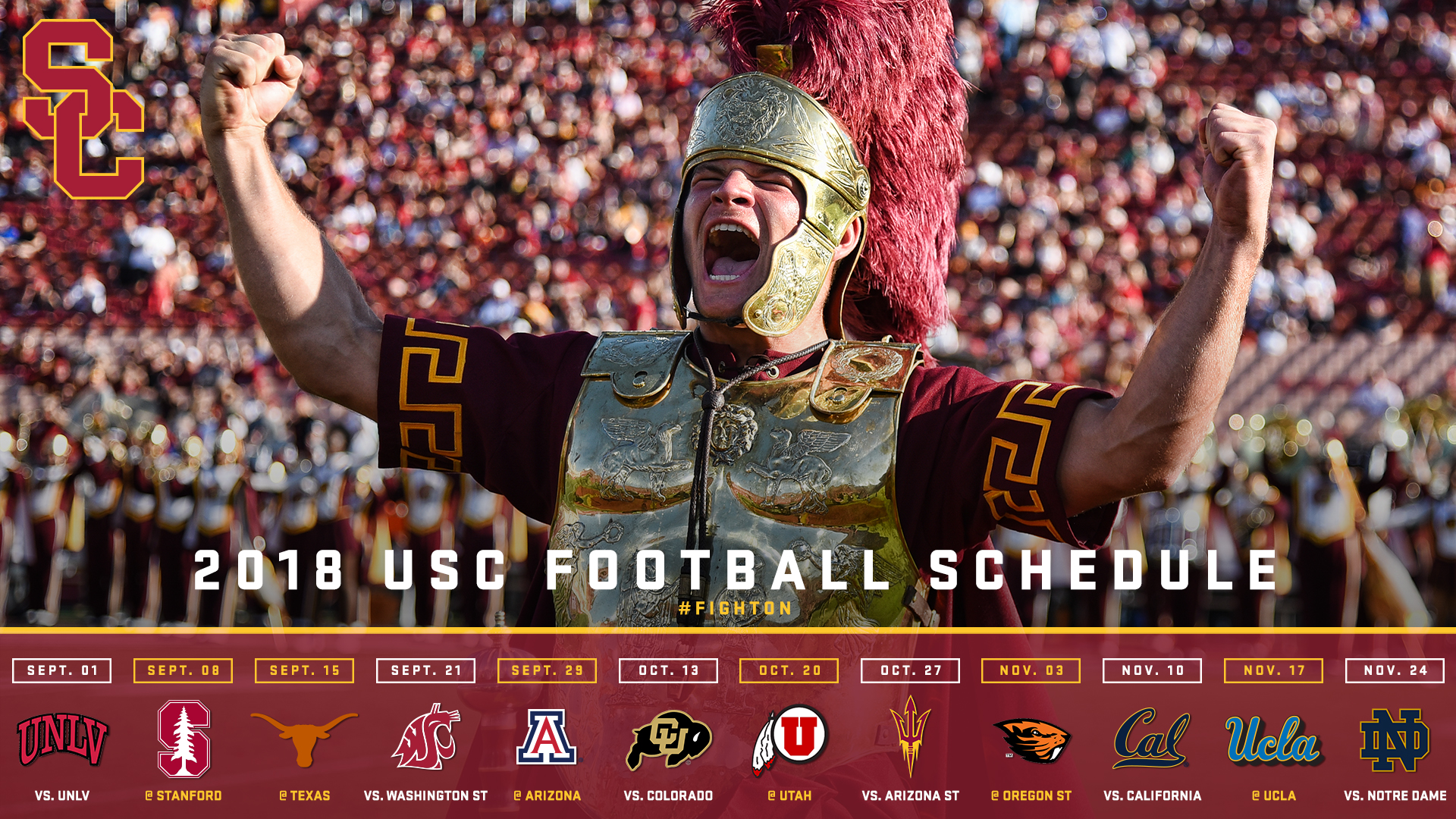 USC's 2018 Football Schedule Announced   University of Southern