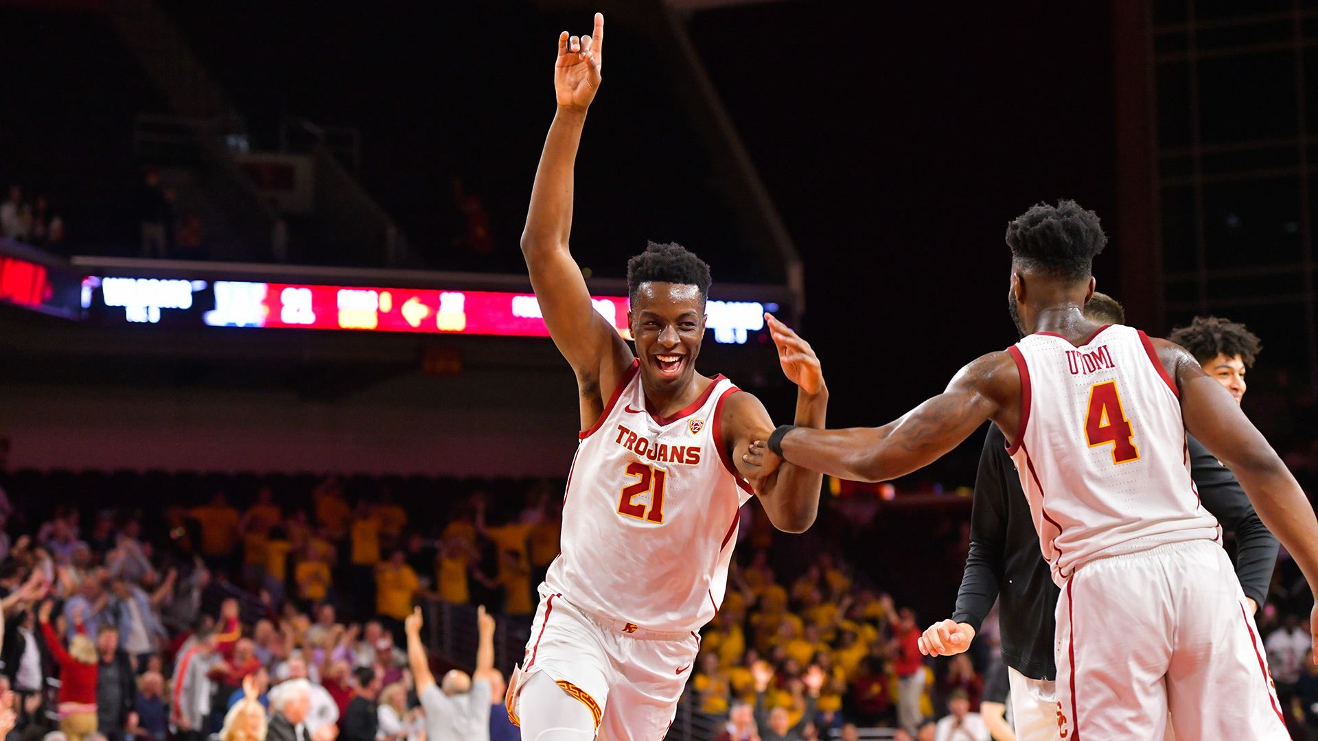 USC's freshman big man, Onyeka Okongwu had another strong performance, as he helped lead his team to a win over Arizona.  (Photo: John McGillen/USC Athletics.)